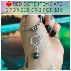 🔴Stainless steel chain om sign hematite gem bead